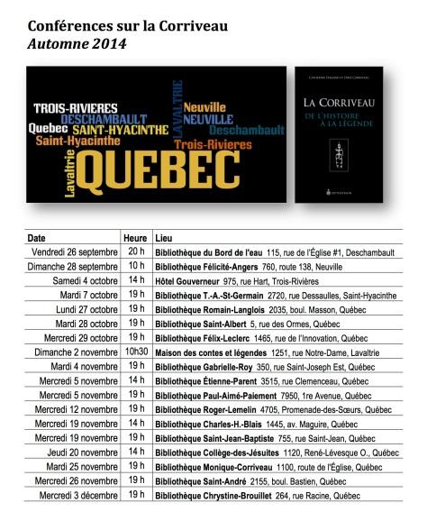 Conférences sur la Corriveau, A-2014